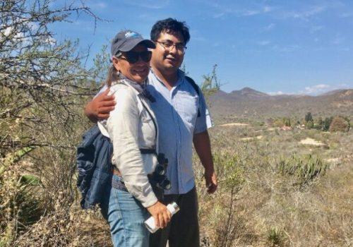 Mary Jane and Gabriel hiking at Hacienda Guegorene