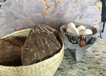 Organic panela, my free-range hen's eggs & heirloom corn tostadas